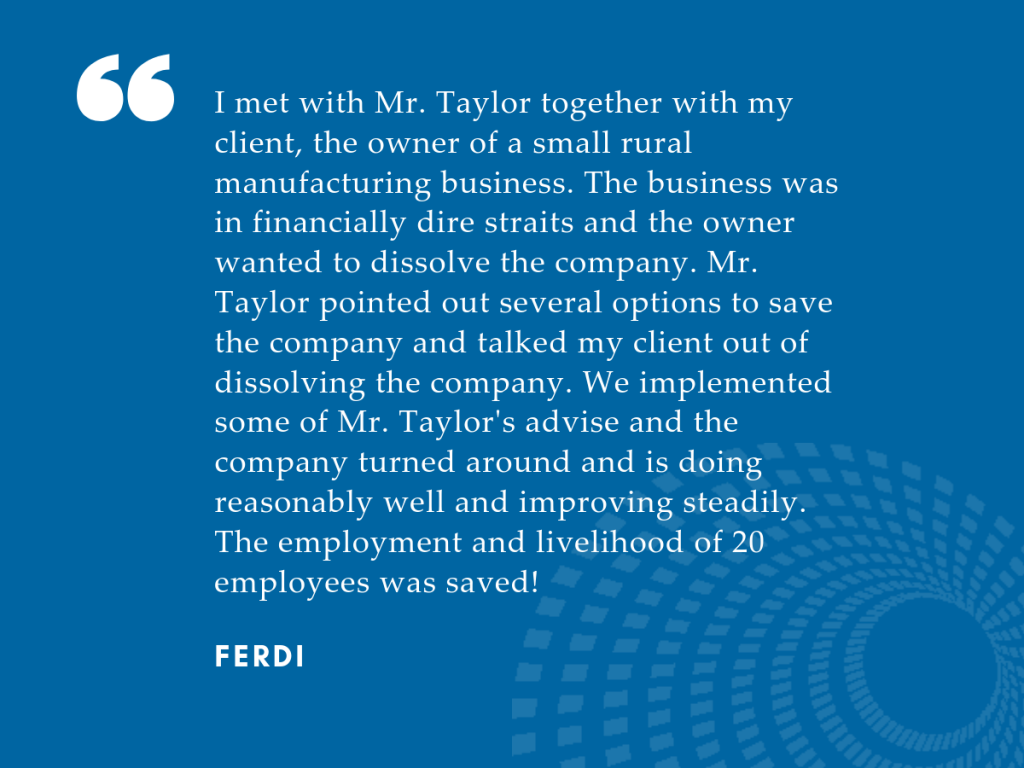 Small Business Insolvency Testimonial